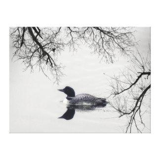 Schwarz-weiße Loonsee Leinwand