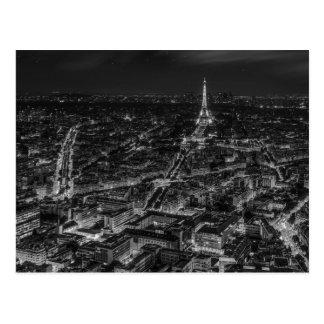 Schwarz-weiße Paris-Stadt-Nachteiffel-Turm-Reise Postkarten