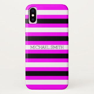 Schwarz-weiße pinkfarbene moderne Streifen iPhone X Hülle