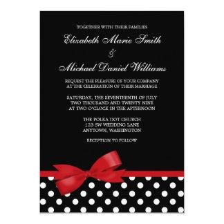 Schwarz-weiße Polka-Punkt-rote Bogen-Hochzeit 12,7 X 17,8 Cm Einladungskarte