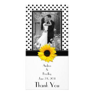 Schwarz-weiße Polka-Punkt-Sonnenblume-Hochzeit Photo Grußkarte