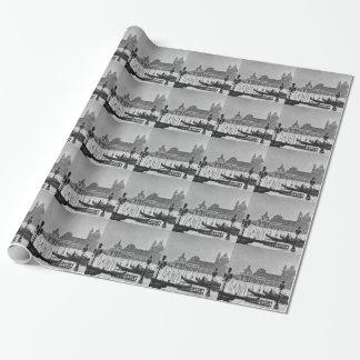 Schwarz-weiße Reise großartiger Kanal-Venedigs Geschenkpapier