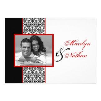 Schwarz-weiße rote Damast-Foto-Hochzeit laden ein 12,7 X 17,8 Cm Einladungskarte