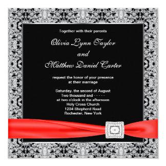 Schwarz-weiße rote schwarze Hochzeit Quadratische 13,3 Cm Einladungskarte