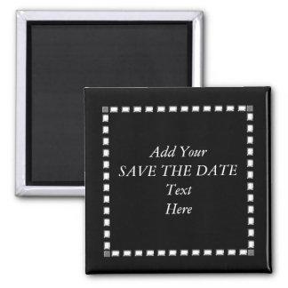 Schwarz-weiße SAVE THE DATE Magneten Quadratischer Magnet