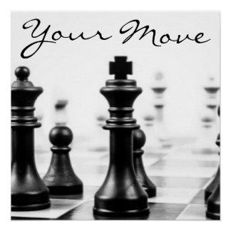 Schwarz-weiße Schach-Stück-Typografie Poster