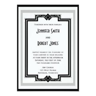 Schwarz-weiße silberne Kunst-Deko-Rahmen-Hochzeit 12,7 X 17,8 Cm Einladungskarte