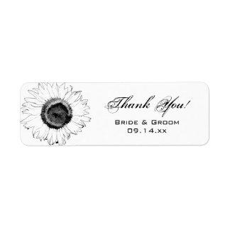 Schwarz-weiße Sonnenblumen danken Ihnen Rücksendeetiketten
