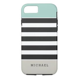 Schwarz-weiße Streifen-Minzen-beige Monogramm-Name iPhone 8/7 Hülle