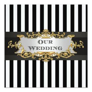 Schwarz-weiße Streifen-Schwarz-Band-Hochzeit laden Quadratische 13,3 Cm Einladungskarte