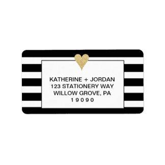 Schwarz-weiße Streifen und Goldherz-Hochzeit Adressetikett