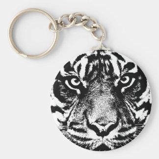 Schwarz-weiße Sumatran Borneo Tiger-Augen-Grafik Schlüsselanhänger
