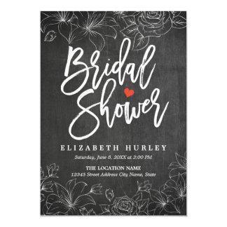 Schwarz-weiße Tafel-BlumenBrautparty laden ein Karte