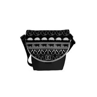 Schwarz-weiße Tier-modernes Streifen-Muster #2 Kuriertasche