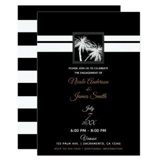 Schwarz-weiße tropische Palme-moderne Verlobung Karte