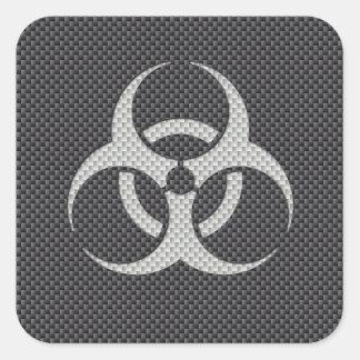 Schwarz-weiße u. graue giftige Kohlenstoff-Faser Quadratischer Aufkleber