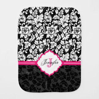 Schwarz-weiße u. rosa Vintage Blumendamaste Baby Spucktuch