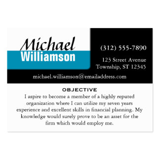 Schwarz-weiße und blaue Eck-ZUSAMMENFASSUNG Karten Mini-Visitenkarten