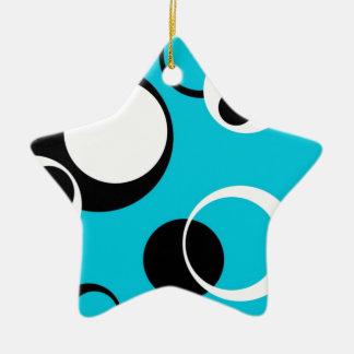 Schwarz-weiße und blaue Kreise Keramik Stern-Ornament