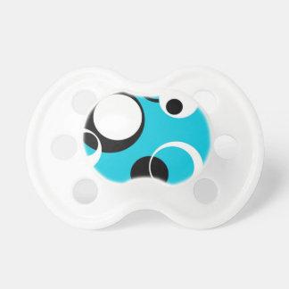 Schwarz-weiße und blaue Kreise Schnuller