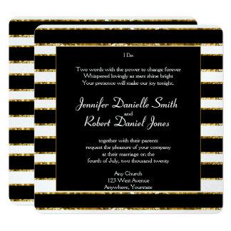 Schwarz-weiße und GoldGlitter-Hochzeit Quadratische 13,3 Cm Einladungskarte