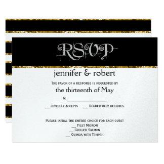 Schwarz-weiße und GoldGlitter-Hochzeits-Wartekarte 8,9 X 12,7 Cm Einladungskarte