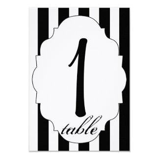 Schwarz-weiße und Rosen-Wedding Tischnummer Karte