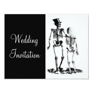 Schwarz Weiße Vintage Skeleton Goth Hochzeit Laden Einladung
