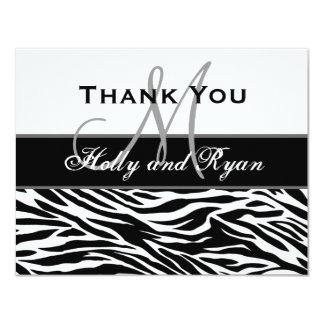 Schwarz-weiße Zebra-Hochzeit danken Ihnen zu Individuelle Einladungskarten