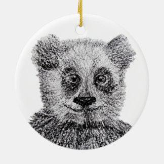 Schwarz-weiße zeichnende Panda-Kreis-Verzierung Keramik Ornament