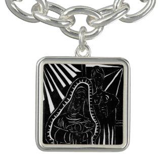 Schwarz-weißer abstrakter Nativity-religiöses Armband