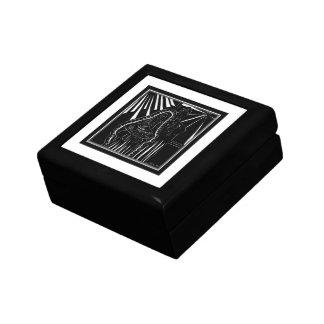 Schwarz-weißer abstrakter Nativity-religiöses Schmuckschachtel