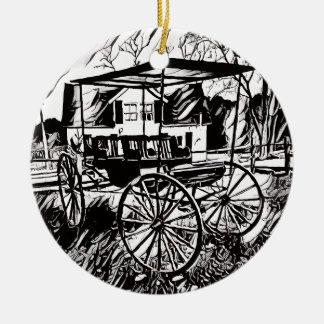 Schwarz-weißer alter Zeit-Wagen Rundes Keramik Ornament