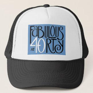 Schwarz-weißer blauer Hut fabelhafte 40 Truckerkappe
