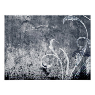 SCHWARZ-WEISSER BLUMENdunkler SMOKEY ASCHEN-TEXT D Plakatdrucke