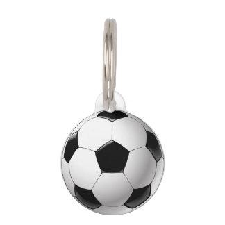 Schwarz-weißer Fußballfußbalball Haustiermarke