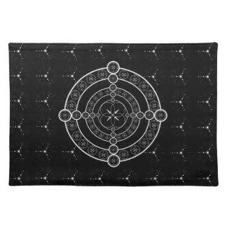Schwarz-weißer geometrischer Ernte-Kreis Stofftischset