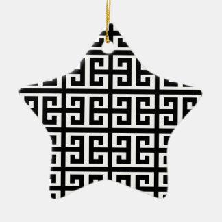 Schwarz-weißer griechischer Schlüssel Keramik Ornament