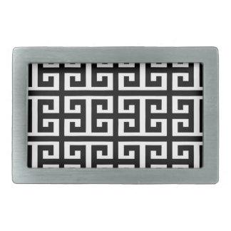 Schwarz-weißer griechischer Schlüssel Rechteckige Gürtelschnalle