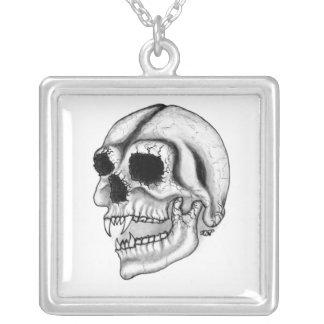 Schwarz-weißer Hauptentwurf des Vampire Halskette Mit Quadratischem Anhänger