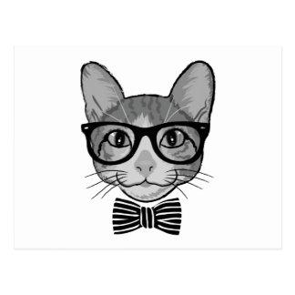 Schwarz-weißer Katzen-Hipster mit Bogen-Krawatte Postkarte