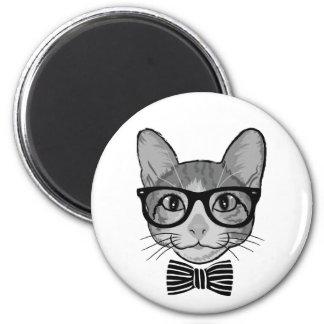 Schwarz-weißer Katzen-Hipster mit Bogen-Krawatte Runder Magnet 5,7 Cm
