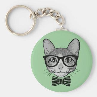 Schwarz-weißer Katzen-Hipster mit Bogen-Krawatte Schlüsselbänder