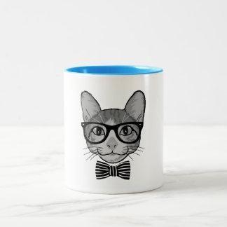 Schwarz-weißer Katzen-Hipster mit Bogen-Krawatte Tasse