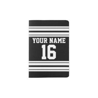 Schwarz-weißer kundenspezifischer Zahl-Name Passhülle