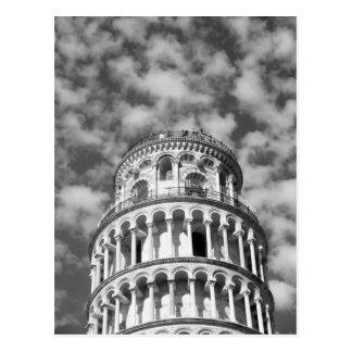 Schwarz-weißer lehnender Turm von Pisa Italien Postkarte