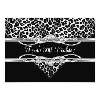 Schwarz-weißer Leopard-30. Geburtstag elegant Individuelle Einladungskarten