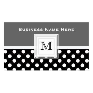 Schwarz-weißer Polka-Punkt: Monogramm-Visitenkarte Visitenkarten