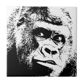 Schwarz-weißer Pop-Kunst-Gorilla Keramikfliese