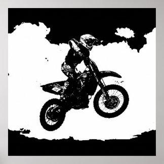 Schwarz-weißer Pop-KunstMotocross Motorcyle Sport Poster